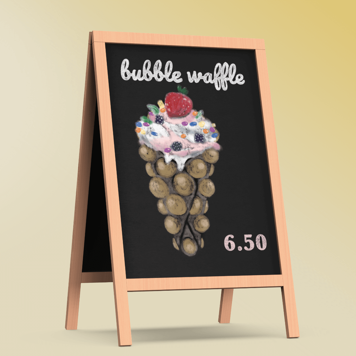 bubble waffle blackboard illustration